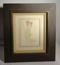 Antique Vintage Pencil Watercolor Nude Drawing Sketch Carl Setterberg Painting