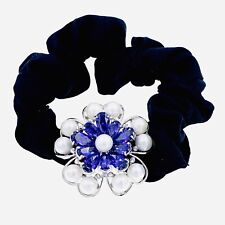 Pearl Hair Rope Wrap made with Swarovski Crystal Scrunchies Ponytail Purple