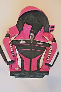 Girls Youth 4T CASTLE X RACING Snowmobile Jacket Coat Pink Winter Racing Toddler