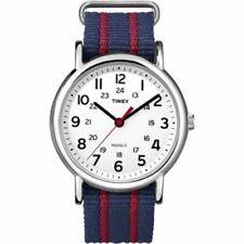 Timex T2N747, Men's Weekender Striped Fabric Watch, Indiglo