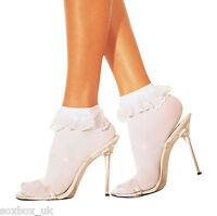 6 Pairs Ladies White Cotton Rich lace top Socks 4-5.5 Uk, 37-39 Eur