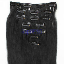 """15""""-28"""" Clip In Remy Real Human Hair Extensions Straight 7PCS #01 Jet Black"""