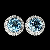 Round Top Sky Blue Topaz 12mm Cz White Gold Plate 925 Sterling Silver Earrings