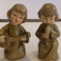 Vintage Christmas Pair of Choir Musician Angels Figurines Papier-mâché Japan