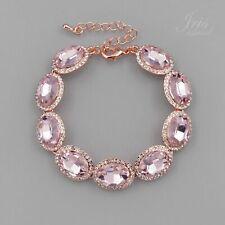 Women ROSE GOLD Plated Pink Crystal Rhinestone Wedding Tennis Cuff Bracelet 5846