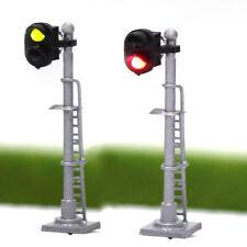 JTD1503GR 3PCS Model Railroad N Scale Train Signals 2-Lights 1:150 Block Signal