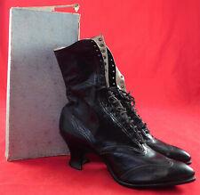 Vintage Unworn Edwardian Black Kid Leather High Top Lace-up Boots & Web Shoe Box