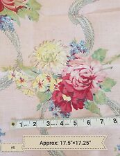Vintage Pink Roses Swag Pattern Fabric Material Sewing Salvage Chic Shabby A6