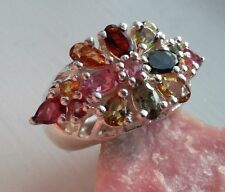 Genuine NATURAL MultiColor Tourmaline REAL 925 Sterling Silver Flower Motif Ring