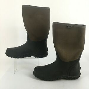 BOGS Classic Cool Tech Rain Boots Waterproof Mens 14 Black Fabric Rubber Pull On