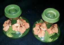 Moorcroft Pair Hibiscus Candlesticks on Green Backing 1953-58 GREAT COLOR & COND