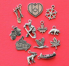Canada Charm Collection 12 Tibetan Silver Tone Charms FREE Shipping E31