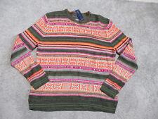 NEW Ralph Lauren Denim & Supply Aztec Sweater Womens 2XL XXL Green Orange Linen