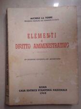 ELEMENTI DI DIRITTO AMMINISTRATIVO LA TORRE ROMA 1960