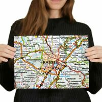 A4  - Kassel City Germany German Travel Map Poster 29.7X21cm280gsm #45456