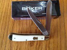 BOKER PLUS TRAPPER 2 BLADE POCKET KNIFE WHITE BONE HANDLE GERMAN STEEL NEW BOX