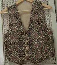 "Vintage Women's Waistcoat 34"" Bust S Multicolour Floral Brocade Vest U.K. Made"