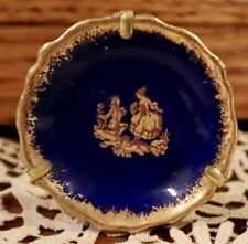 Antique French Rare Miniature Blue & Gold Limoges Hanging Plate For Dollhouse