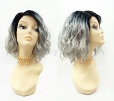 Pre-Trimmed Lace Front Gray w/ Dark Roots Wavy Lob Wig Short Heat Resistant 12""