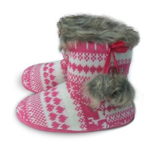 Warm boot slippers prettyreindeer for women - Medium UK 5-6, Pink Reindeer