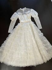 Vintage Bridallure 70's Tiered Lace Pearl Wedding Dress Size 10 Ilgw Ivory