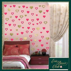 Heart Shape Wall Nursery Room Stickers Love Hearts Decals Girl Bedroom bubbles