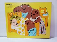 Vintage Playskool Goldilocks And The Three Bears Wooden Puzzle 20 Pieces