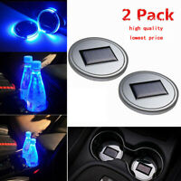 Blue Solar LED Lights Car Cup Holder Mat Cup Pad Drinks Coaster Car Accessories@