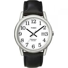 Timex T2H281 genuino cuero reloj para hombre lector fácil con fecha-Negro/Plata