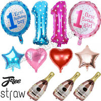 5Pcs Girl Foil Helium Balloon For Newborn Baby Shower Christening Birthday Party
