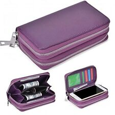 (Purple) Double Zip Wallet Bag ID Card PU Leather Case For Alcate Mobile Phones