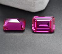 NOBLE Rose Red RUBY UNHEATED EMERALD SHAPE AAAAA+ LOOSE GEMS 3x5mm to 15x20mm
