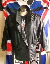 Vintage/retro style crop black 3/4 leather jacket.size 10.X-over, 2buttON waist.
