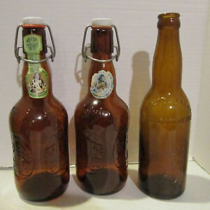 EMPTY 1974 Grolsch 2 amber bottles porc caps & Smith Brewing Co. Youngstown OH