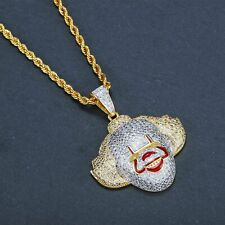 HIPHOP V Geek Clown Pendant Copper Inlaid Zircon Gold Plated Jewelry Necklace
