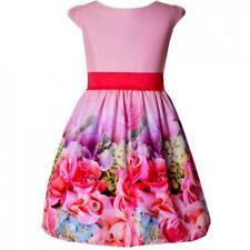 Mädchen Kleid Festlich Hochzeit Einschulung Blumenmädchen Party Blumen Rosa