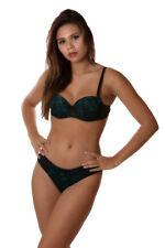 MAYA ensemble de lingerie soutien-gorge push-up et culollte noir et vert 90B/M