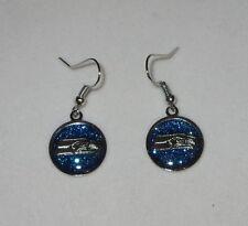 Seattle Seahawks Earrings Blue Glittery Silver Tone Nfl Fish Hook Pierced New