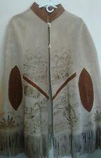 Womens One Size Suede100% Leather Handmade Cape w/ Fringe Vintage Cowboy Artwork
