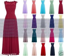 Long Chiffon Lace Formal Party Ball Gown Prom Evening Bridesmaid Dress Size 6-18