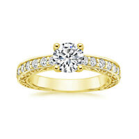 1.12 Ct Round Cut Solitaire Diamond Engagement Ring 14K Solid Yellow Gold Size N