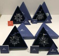 4 Swarovski Large Crystal Snowflake Ornaments 2003,2004,2006,2007 Nib - Mint