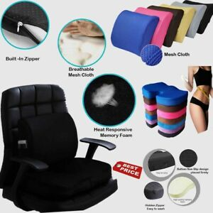 Memory Foam Back Support Cushion Wedge Seat Chair Posture Lumbar Orthopaedic UK