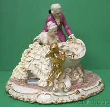 Dresden Lace Figurine Crown N Germany Colonial Couple Baby Cradle Putti