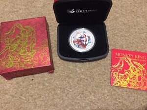 2016 Perth Mint 'Monkey King' 1oz .999 Silver Coloured Coin. Box and COA