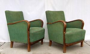 Pair of Art Deco Armchairs. Club Cocktail Chairs. Antique Vintage Halabala.