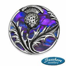Scottish Thistle Brooch Purple Abalone Shell Silver Fashion Jewellery 30x30mm