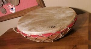 Antique Primitive Drum, Clay Bowl Base, Laced Rawhide Sinew Animal Skin Head,