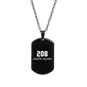 Korean drama squid pendant stainless steel black and white game tag new necklace