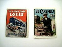 """(2) 1927 & 1926 Train Collecting Stamps Titled """"Cross Crossings Cautiously""""  *"""